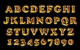 Raccolta della fonte del fuoco, alfabeto della fiamma Fotografia Stock Libera da Diritti