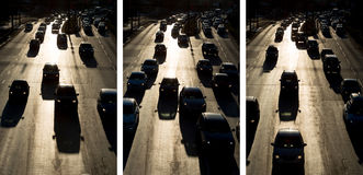 Raccolta della foto della siluetta della via delle automobili dell'ingorgo stradale Fotografia Stock