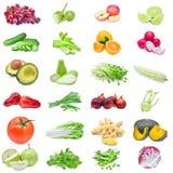 Raccolta della frutta e delle verdure isolate su fondo bianco Fotografia Stock Libera da Diritti