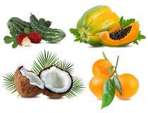 Raccolta della frutta fresca isolata su bianco Fotografie Stock