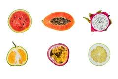 Raccolta della frutta fresca isolata su fondo bianco Fotografie Stock Libere da Diritti
