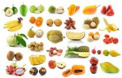 Raccolta della frutta isolata su bianco Fotografia Stock