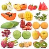 Raccolta della frutta isolata su fondo bianco Immagine Stock