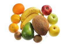Raccolta della frutta sopra bianco Immagine Stock