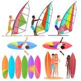 Raccolta della gente del surfista Vista frontali superiori e dei surf, della guida sulle onde Illustrazione praticante il surfing Immagine Stock