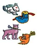 Raccolta della mascotte di sport di lacrosse e del hockey su ghiaccio Fotografie Stock