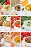 Raccolta della minestra delle minestre in primo piano di verdure della tagliatella del pomodoro della ciotola Immagine Stock Libera da Diritti
