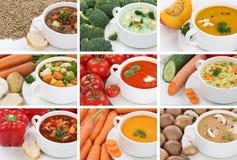 Raccolta della minestra delle minestre in primo piano di verdure della tagliatella del pomodoro della tazza Immagini Stock Libere da Diritti