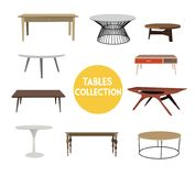 Raccolta della mobilia elementi disegnati a mano di interior design Immagini Stock