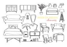 Raccolta della mobilia elementi disegnati a mano di interior design Fotografie Stock Libere da Diritti