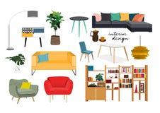 Raccolta della mobilia elementi disegnati a mano di interior design Immagini Stock Libere da Diritti