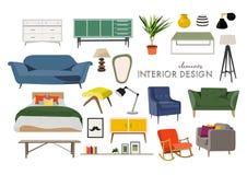 Raccolta della mobilia elementi disegnati a mano di interior design Royalty Illustrazione gratis
