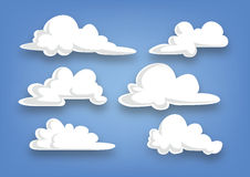 Raccolta della nuvola di stile del fumetto, insieme delle nuvole - illustrazione Immagini Stock