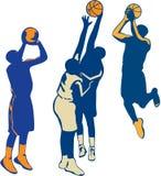 Raccolta della palla del tiro del giocatore di pallacanestro retro Fotografie Stock