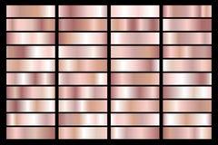 Raccolta della pendenza metallica dell'oro rosa Piatti brillanti con effetto dorato Illustrazione di vettore illustrazione vettoriale