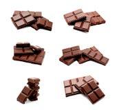 Raccolta della pila scura delle barre del cioccolato al latte delle foto isolata Immagini Stock