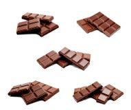 Raccolta della pila scura delle barre del cioccolato al latte delle foto isolata Immagine Stock Libera da Diritti