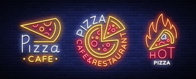 Raccolta della pizza del vettore delle insegne al neon Metta il logos al neon Immagini Stock