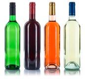 Raccolta della rosa rossa di bianco del collage delle bottiglie di vino isolata su wh Immagine Stock