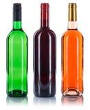 Raccolta della rosa rossa di bianco delle bottiglie di vino isolata su bianco Fotografia Stock