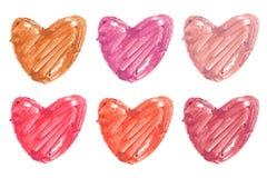 Raccolta della sbavatura del rossetto nella forma del cuore Fotografia Stock Libera da Diritti
