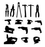 Raccolta della siluetta dell'illustrazione di vettore delle macchine utensili Immagini Stock Libere da Diritti