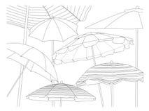 Raccolta della spiaggia gli ombrelli Fotografie Stock Libere da Diritti