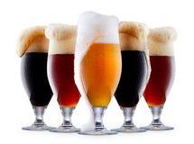 Raccolta della tazza di birra gelida con schiuma Fotografie Stock
