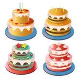 Raccolta della torta di compleanno Fotografie Stock Libere da Diritti