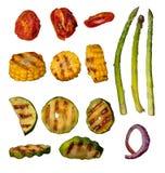 Raccolta della verdura arrostita su fondo bianco Fotografia Stock Libera da Diritti