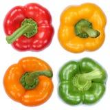 Raccolta della verdura di vista superiore delle paprica della paprica isolata su wh Fotografia Stock