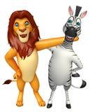 Raccolta della zebra e del leone Fotografie Stock Libere da Diritti