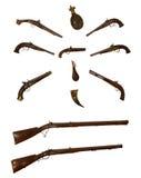 Raccolta delle armi da fuoco antiche Fotografie Stock Libere da Diritti