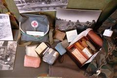 Raccolta delle armi e delle attrezzature utilizzate durante la guerra per indipendenza croata, Pakrac, Croazia Fotografie Stock Libere da Diritti