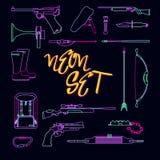Raccolta delle armi per cercare nello stile al neon Immagini Stock
