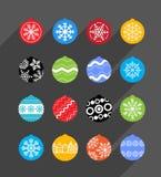 Raccolta delle bagattelle di Natale di colore Fotografia Stock