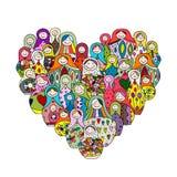 Raccolta delle bambole russe di incastramento, forma del cuore di Matryoshka Immagine Stock