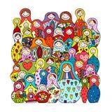 Raccolta delle bambole russe di incastramento, Matryoshka per la vostra progettazione Immagine Stock Libera da Diritti