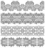 Raccolta delle bande floreali ornamentali senza cuciture, Immagine Stock