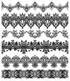 Raccolta delle bande floreali ornamentali senza cuciture, Immagini Stock