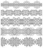 Raccolta delle bande floreali ornamentali senza cuciture, Fotografia Stock Libera da Diritti