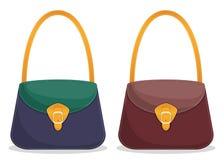 Raccolta delle borse di cuoio variopinte alla moda con la cucitura bianca Borse delle donne alla moda s isolate su fondo bianco V illustrazione vettoriale