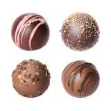 Raccolta delle caramelle di cioccolato. Bei tartufi belgi isolati Fotografia Stock Libera da Diritti