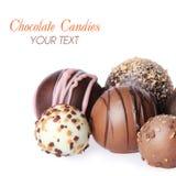 Raccolta delle caramelle di cioccolato deliziose isolate su bianco Immagine Stock Libera da Diritti