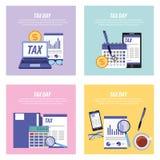Raccolta delle carte di giorno di imposta royalty illustrazione gratis