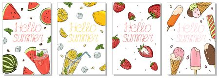 Raccolta delle carte variopinte sul tema di estate Bevande, frutta e gelato di rinfresco royalty illustrazione gratis