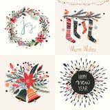 Raccolta delle cartoline d'auguri del nuovo anno e di Natale Immagini Stock