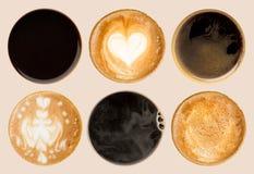 Raccolta delle cime delle tazze di caffè isolate su bianco Immagine Stock Libera da Diritti