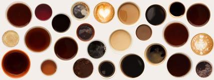 Raccolta delle cime delle tazze di caffè isolate su bianco Fotografia Stock