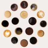 Raccolta delle cime delle tazze di caffè isolate su bianco Fotografie Stock Libere da Diritti